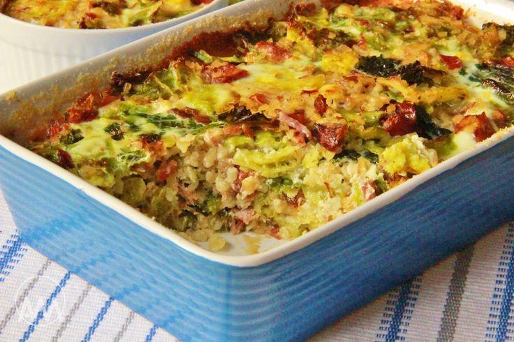 """V kuchyni vždy otevřeno ...:"""" Kapusta zapečená s bulgurem a uzeným"""" - Cabbage-Bulgur-Ham casserole (Slovak language)"""