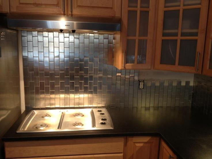 stainless steel tile vertical backsplash interior design kitchen