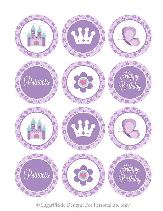 Princess Cupcake Toppers Princess Birthday por SugarPickleParty