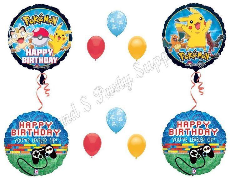 10 Piece POKEMON GO Birthday Party Balloons Decoration Supplies Pikachu Game #Anagram #1STbIRTHDAY