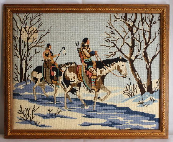 Indians Riding Horses Snowy Ride Wood Framed Finished Needlepoint Lee Wards