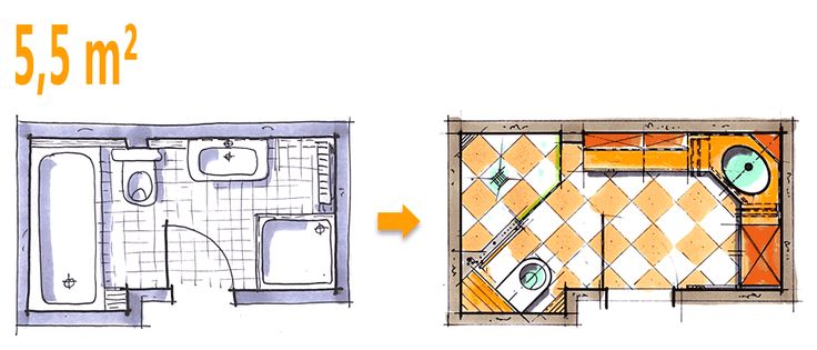 Badplanung Beispiel 5,5 qm Großzügiges Komfort-Duschbad mit sehr viel Stauraum