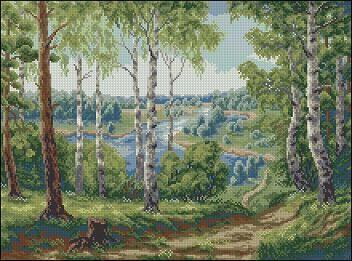 "Free cross-stitch pattern ""Landscape Forest River""   Cross-Stitch Club"