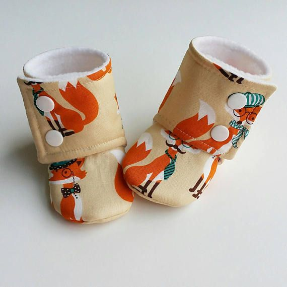 Baby Booties Baby Gifts Stay-on Booties Fabric Boots, Fox Baby Shoes etsy