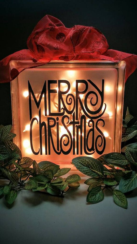 Merry Christmas Lighted Glass Block by KimsKreationsSA on Etsy