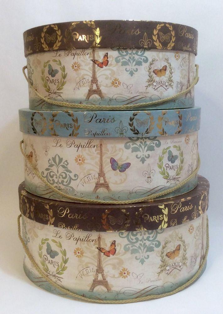 Set of 3 Tri-Coastal Butterfly Parisian Hat Boxes