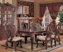 7pc Formal Dining Table & Chairs Set Cherry Brown Finish