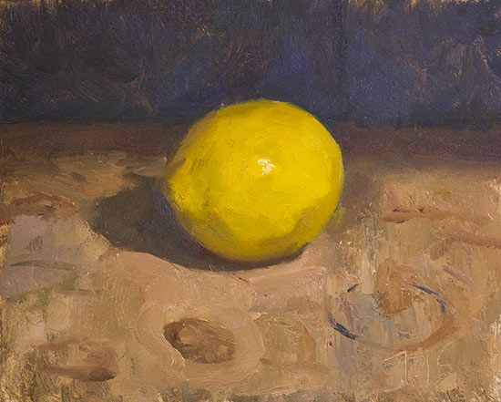 Lemon 20cm x 16cm, oil on board Julian Merrow-Smith