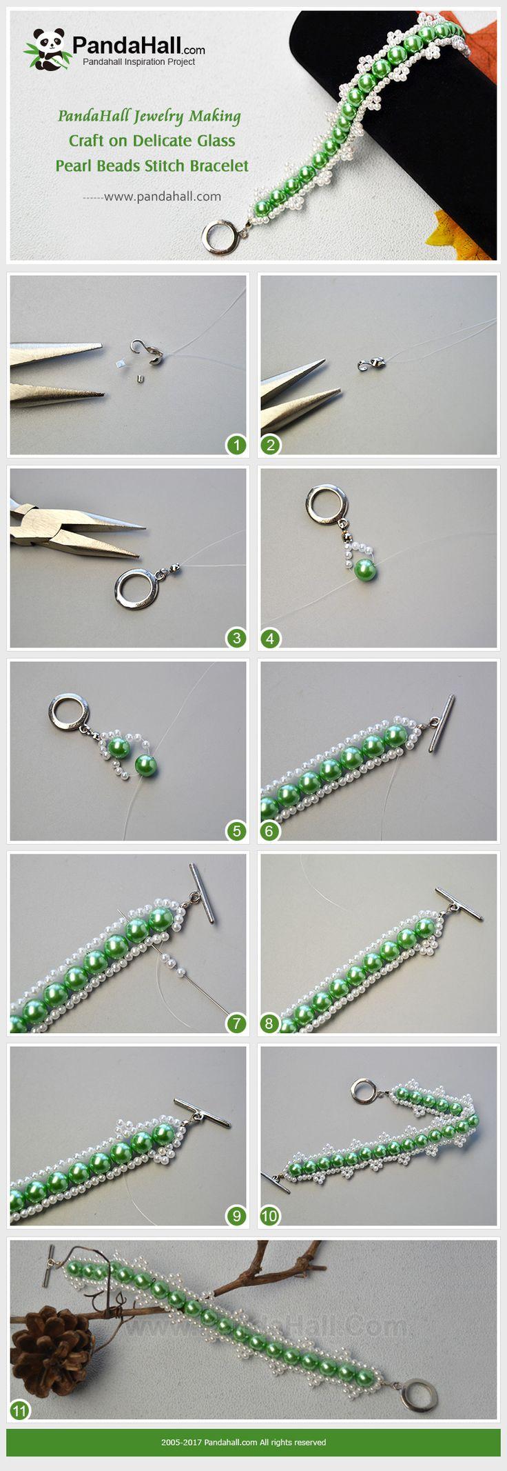 Pulsera de perlas de cristal delicada con cuentas de perlas Las cuentas de perlas de vidrio son los materiales más comunes en la fabricación de joyas. Hoy compartiremos con usted cómo hacer una delicada pulsera de perlas de vidrio con puntadas de perlas.