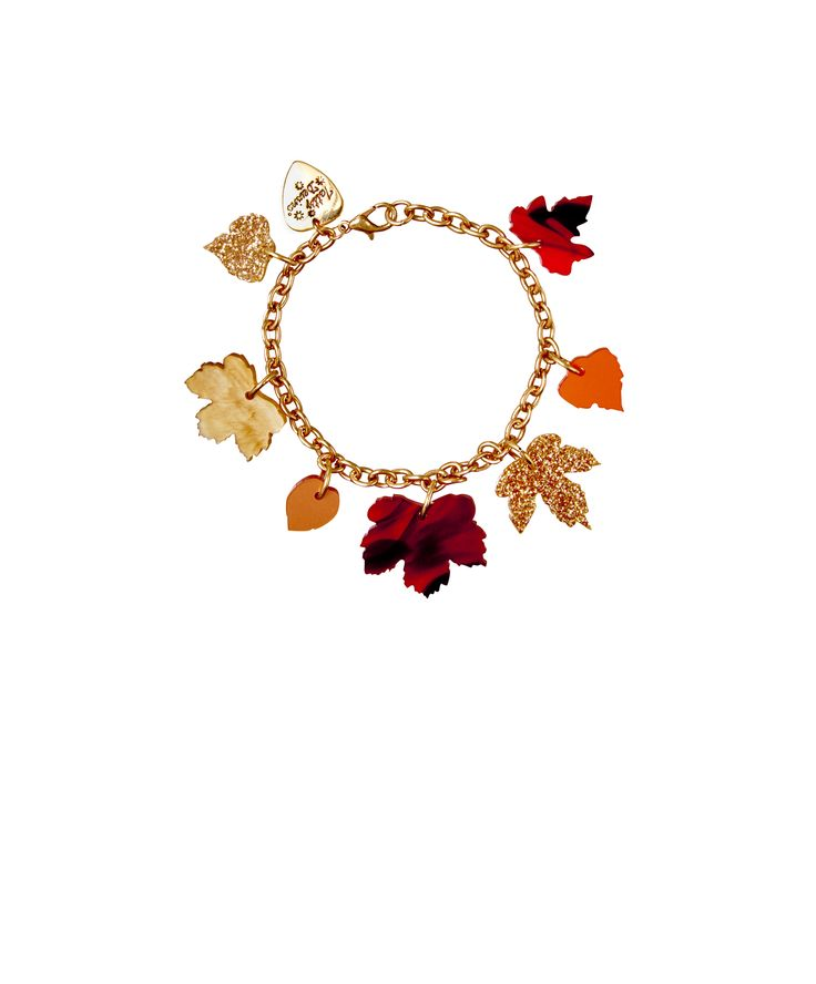 Autumn Leaves Bracelet - Embrace the changing season with the Autumn Leaves Bracelet. An array of deciduous fallen leaves hang from a golden chain, captured in glitter gold, frosted amber, brushed copper and tortoiseshell acrylic.