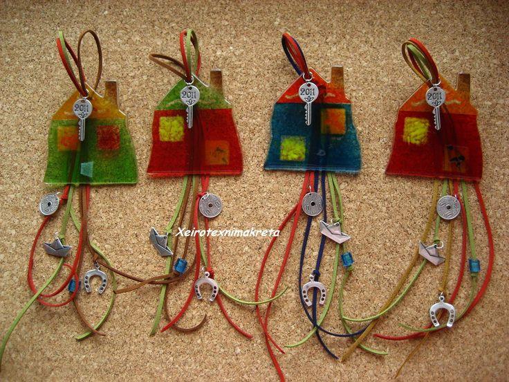 Χειροτέχνημα από Κρήτη - Handmade from Kreta: Γούρια χρωματιστά γυάλινα σπίτια!!!