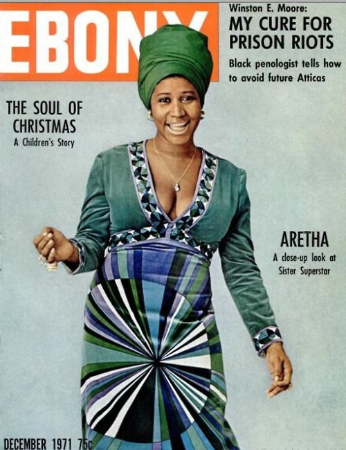 retha Franklin on the cover of Ebony, December 1971.