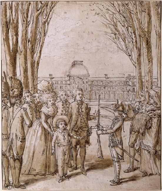 Marie-Antoinette and Louis XVI in the gardens of the Tuileries with the dauphin, 1790-91, ink drawing (Louvre)