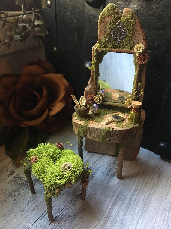 Faery Vanity Set Miniature Fairy Vanity Fairy Furniture Handmade By Thefaeryforest Fairy Furniture Fairy Garden Crafts Fairy Garden Designs