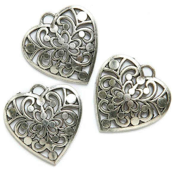 £1.49 Heart metal charm, Hollowed Pattern (Pk3)