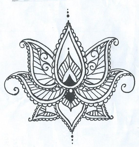 Lotus Temporary Tatto With Paisley Henna Style Petals Hand Drawn Illustration                                                                                                                                                      More