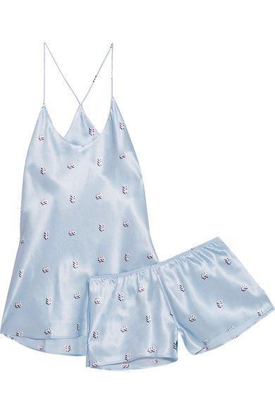 Olivia von Halle - Bella Printed Silk-satin Pajama Set - Sky blue