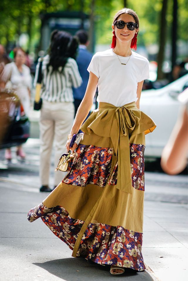Paris Fashion Week Haute Couture street style:  basic white tee shirt with long flowy skirt