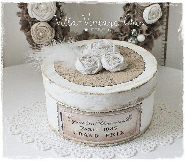 Deko-Objekte - ♥ Schachtel Dose ♥ shabby Rosen french - ein Designerstück von Villa-Vintage-Chic bei DaWanda