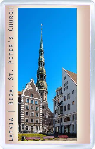 Acrylic Fridge Magnet: Latvia. Riga. St. Peters Church
