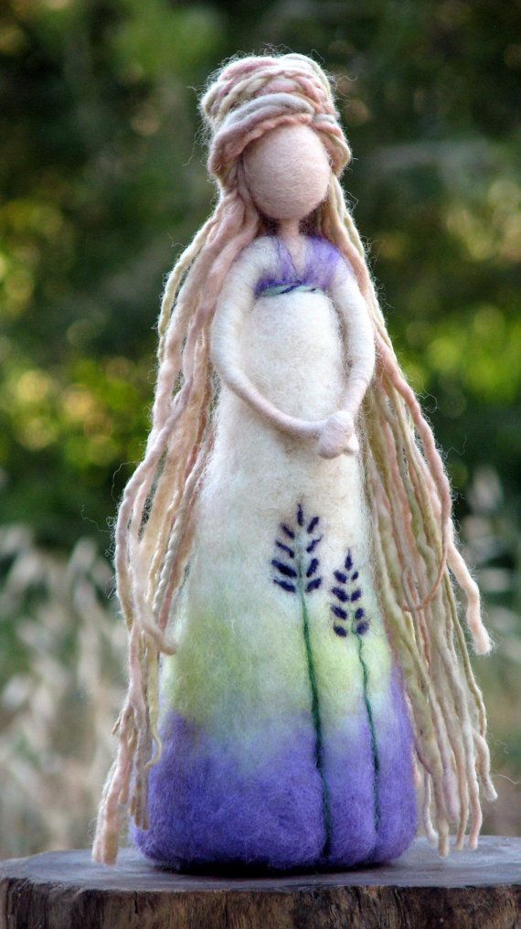 Needle felted art doll Waldorf inspired Woolen Lavender doll Home decor