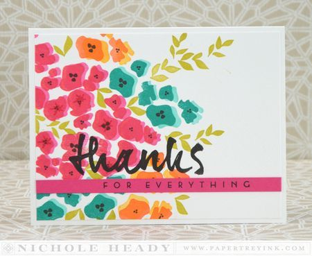 Floral Thanks Card by Nichole Heady for Papertrey Ink (March 2014)