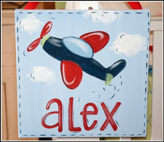 Nursery Art, Airplane Art, Canvas Wall Art, Hand-painted Art for Kids, Custom, Personalized,Art for Boys