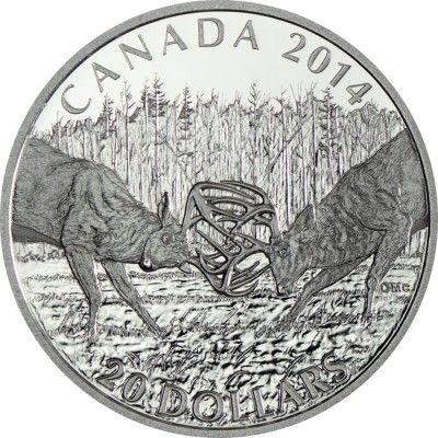20 Dollar Silber Der Weißwedelhirsch - Die Herausforderung PP