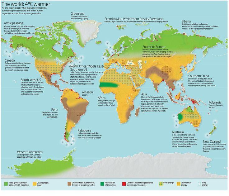Wonen op Antarctica en de Noordpool en woestijn tot diep in Europa. Parag Khanna geeft een toekomstbeeld hoe de wereld er ongeveer uit gaat zien als het wereldwijd gemiddeld 4 graden warmer wordt.