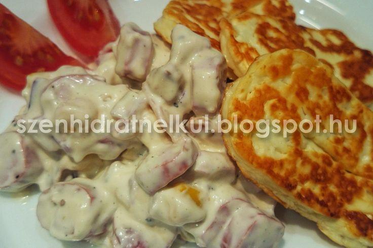 Szénhidrátmentes, fehérjedús diétás és fitness receptek fogyókúrához, Atkins diétához, sportoláshoz: Grillezett sajt gazdag majonézes hússalátával