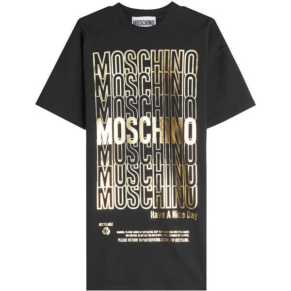 Moschino Printed Cotton T-Shirt Dress ($455) ❤ liked on Polyvore featuring dresses, black, wetlook dress, t shirt dress, gold metallic dress, cotton dress and tee dress