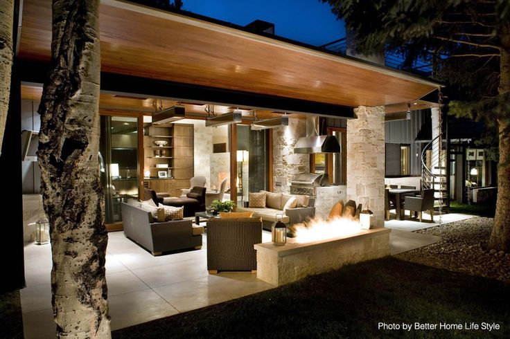 Captivating Open Patio Concept As Part Of A Remodeled Home With A Good Mix Of Rustic  And Modern Vibes. The Tile Floors, Sliding Doors And Brick Columns Add To U2026