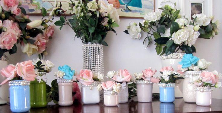 """ecco il mio """"giardino d'inverno"""" fatto coi barattolini di vetro dei sughi pitturati e decorati"""