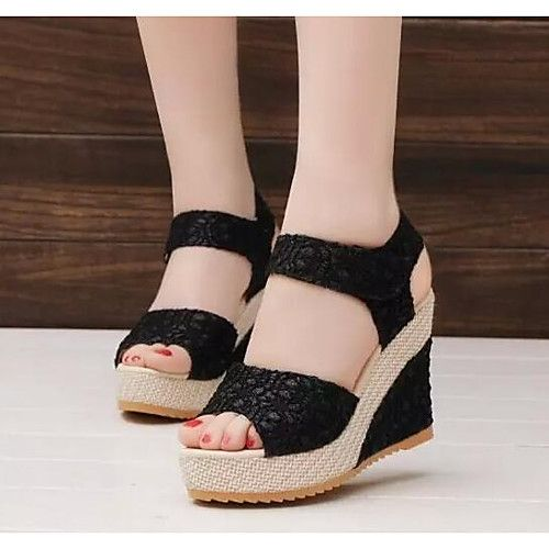 Mujer Zapatos Tul Primavera Otoño Confort Sandalias Tacón Cuña para Casual Negro Beige 2018 - $58816