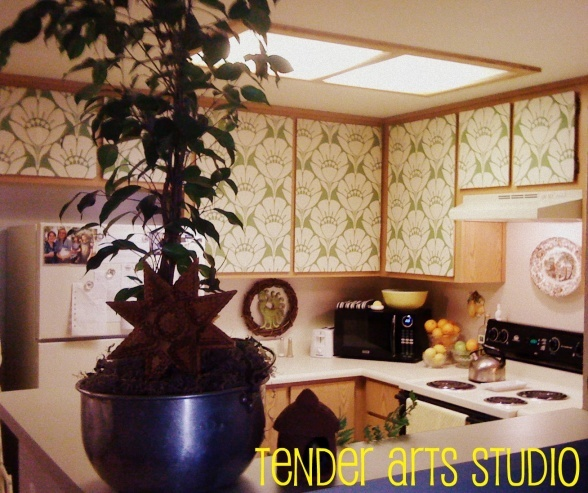 Redesign Upper Cabinet Doors- Apply Fabric With Liquid