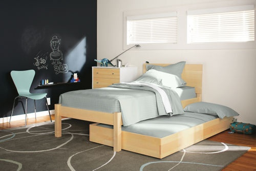 Plan for kid's room: Buy the trundle that goes with Zora's bed instead of a twin bed for Abram. Set them at right angles (A won't need full length for awhile). Maybe eventually get him a matching twin, but trundle would also be a classy platform bed, and if we're living in small city spaces, it might help!