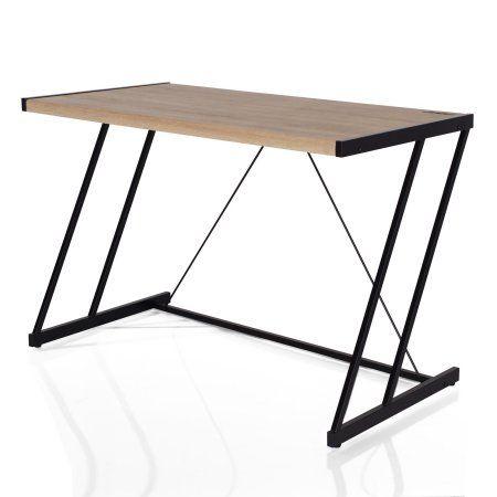 Acme Finis Desk with USB Dock, Light Oak & Black