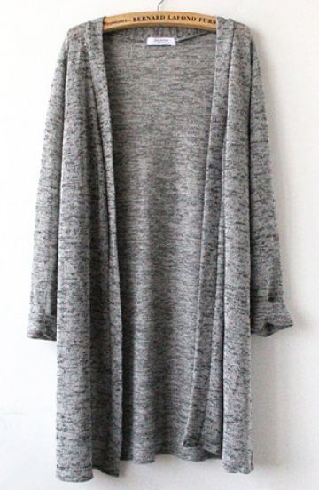 Grey Three Quarter Sleeve Cardigan -- I have this in a black polka dot and accent with pocket and shoulder pads...