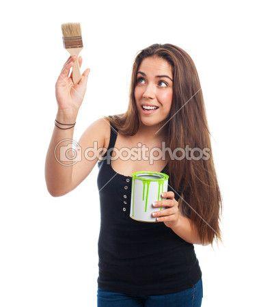 塗装、ペンキ缶を保持している若い女性の肖像画 — ストック画像 #66613847