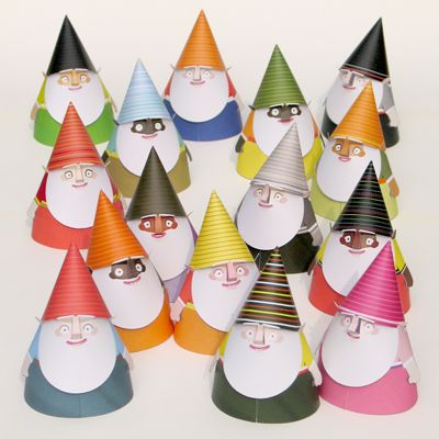 """Print and make your own paper gnomes (or """"Snorfs"""") by 3EyedBear // #free #printables"""