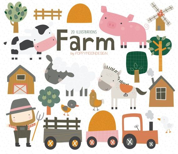 Farm Animals Farmer Colourful Digital Clip Art Set Clip Art Digital Clip Art Set Photoshop Design