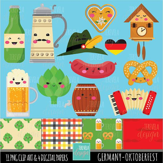 Germany - Oktoberfest Digital Clipart set includes 11 cute graphics and 4 digital paper  PERSONAL AND SMALL COMMERCIAL USE  This clip art pack is perfect for scrapbooking, paper crafts, card design, stickers, party invitations ... and much more!  DOWNLOAD INSTANT / NO SHIPPING  You will receive: ★ 1 zip containing 11 Files (12 x12 approx | 300 dpi) in PNG format with transparent background and 4 digital paper (12 x12 | 300 dpi)   The file can be downloaded immediately after your payment...