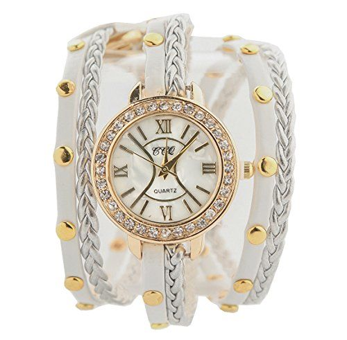 Soulvin Women Rivet Charm Rhinestones Watch Weave PU Belt Twine Wrist Bracelet Watch White * Watch details can be found by clicking on the image.