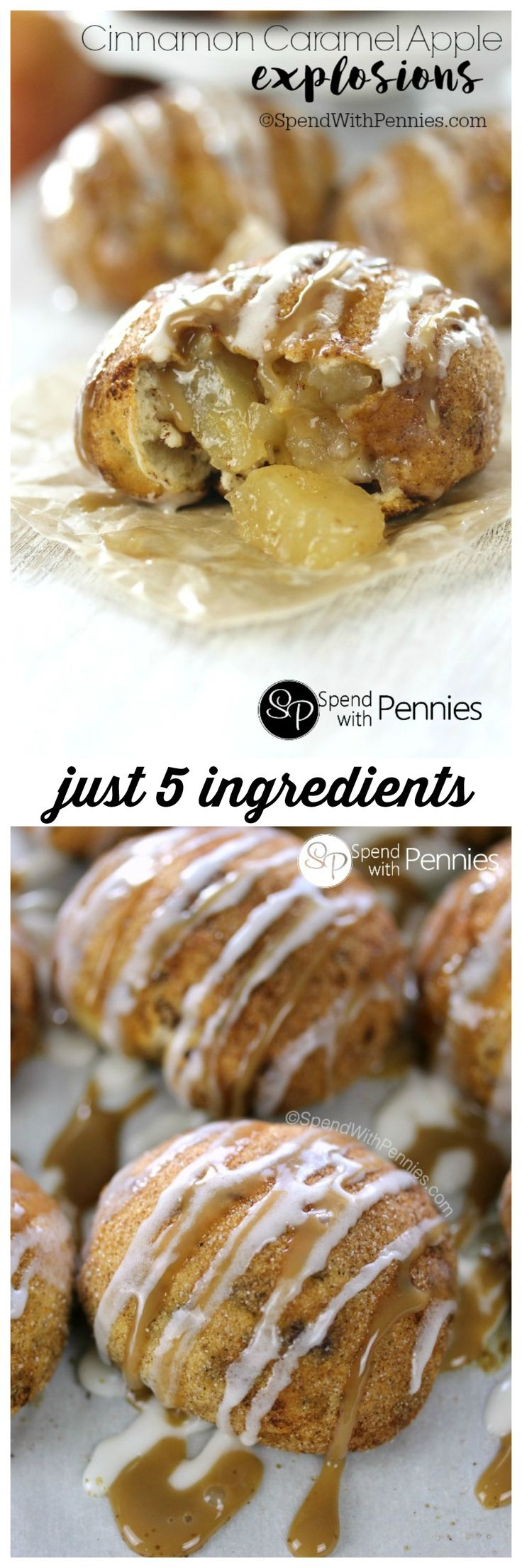 Cinnamon Caramel Apple Explosions! A cinnamon sugar crusted roll filled with warm apple pie filling & drizzled with caramel. These take just minutes to make  and are completely irresistible!