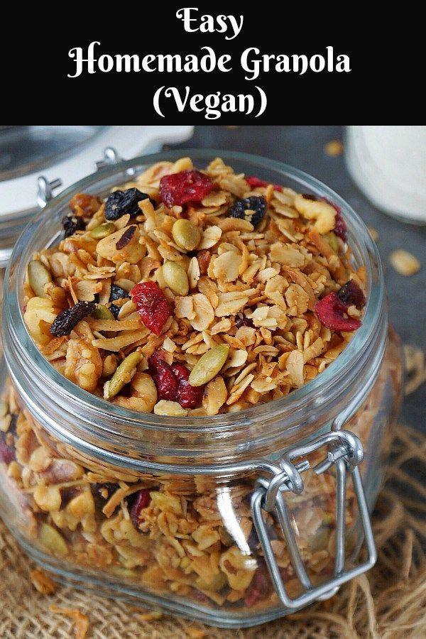 Easy Homemade Granola | Vegan Granola. #granola #vegan #vegangranola @aromaticessence