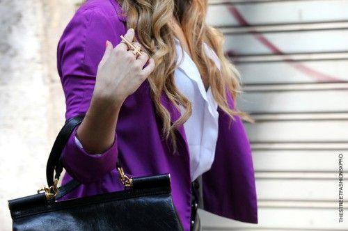 purple blazer, cross ring <3