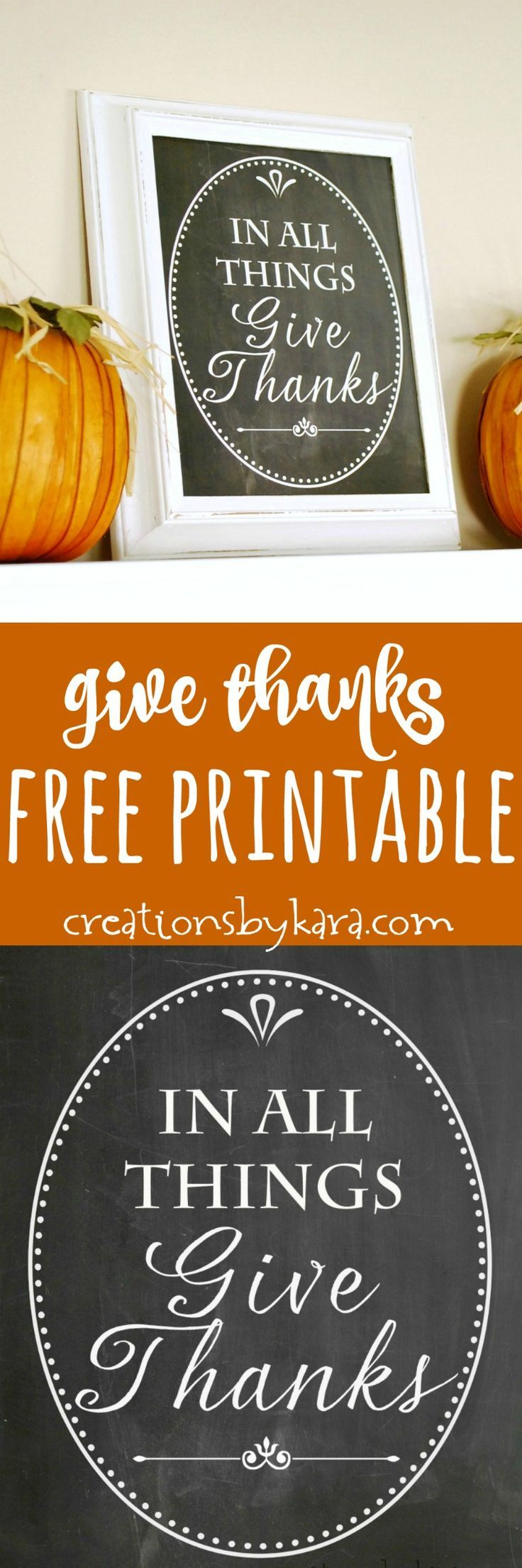 Give Thanks Chalkboard printable - add some fall farmhouse decor to your living space. This free printable makes it easy! via creationsbykara.com