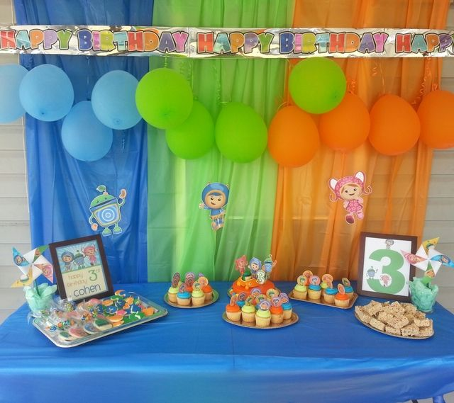 Birthday Party Decorations ~ color co-ordinate balloons and light material to decorate walls.