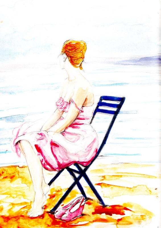 """""""Su questa spiaggia deserta"""".    Mi sarebbe tanto piaciuto rimanermene sulla spiaggia assolata, senza niente di cui preoccuparmi, da sola, distante da tutto. Invece dentro la testa i pensieri corrono, mi tengono in uno stato perenne di agitazione, nonostante io avessi deciso che questa sarebbe stata la mia sacrosanta vacanza, il luogo dove preoccuparmi soltanto di me stessa.... (di Bruno Magnolfi - illustrazione di Giulia Tesoro)."""
