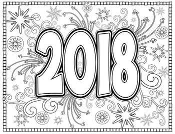 New Year 2018 Coloring Pages for Teens and Adults